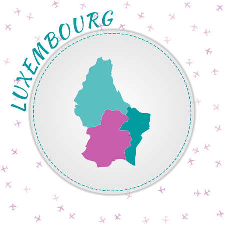 Luxembourg map design. Map of the country with regions in emerald-amethyst color palette. Rounded travel to Luxembourg poster with country name and airplanes background. Elegant vector illustration. Banco de Imagens - 148230786