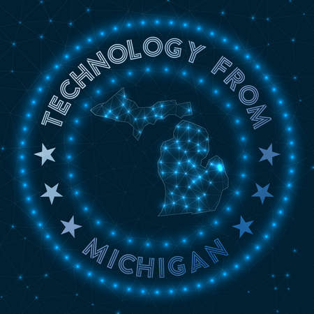 Technology From Michigan. Futuristic geometric badge of the us state. Technological concept. Round Michigan logo. Vector illustration.