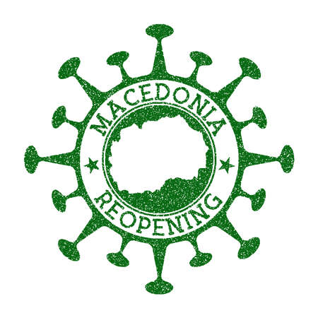Macedonia Reopening Stamp. Green round badge of country with map of Macedonia. Country opening after lockdown. Vector illustration.