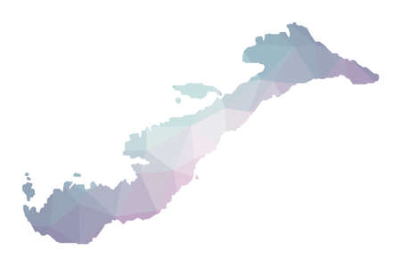 Polygonal map of Amorgos. Geometric illustration of the island in emerald amethyst colors. Amorgos map in low poly style. Technology, internet, network concept. Vector illustration.