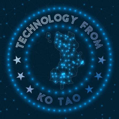 Technology From Ko Tao. Futuristic geometric badge of the island. Technological concept. Round Ko Tao logo. Vector illustration.