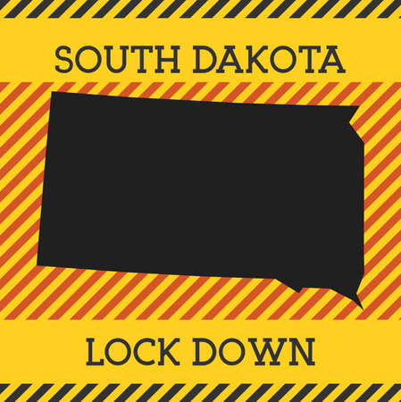 South Dakota Lock Down Sign. Yellow us state pandemic danger icon. Vector illustration.