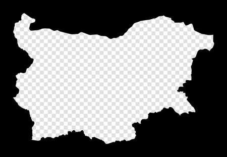 Stencil map of Bulgaria. Simple and minimal transparent map of Bulgaria. Black rectangle with cut shape of the country. Amazing vector illustration. 向量圖像