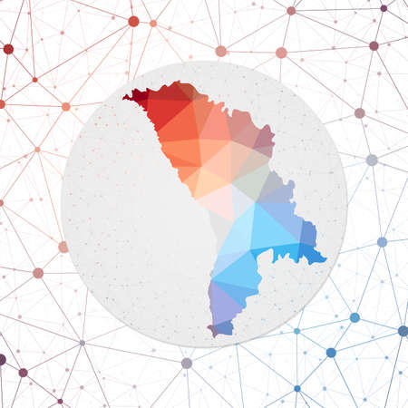 Abstract vector map of Moldova. Technology in the country geometric style poster. Polygonal Moldova map on 3d triangular mesh backgound. EPS10 Vector.