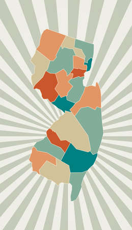 New Jersey map. Poster with map of the us state in retro color palette. Shape of New Jersey with sunburst rays background. Vector illustration. Ilustração