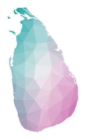Polygonal map of Sri Lanka. Geometric illustration of the country in emerald amethyst colors. Sri Lanka map in low poly style. Technology, internet, network concept. Vector illustration.