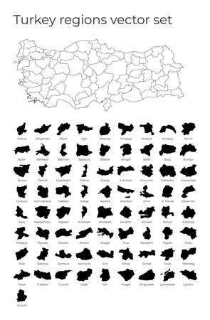 Turkey map with shapes of regions. Blank vector map of the Country with regions. Borders of the country for your infographic. Vector illustration.