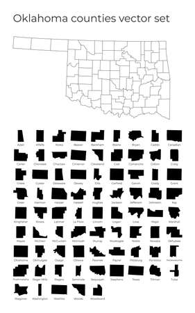 Oklahoma map with shapes of regions. Blank vector map of the Us State with counties. Borders of the us state for your infographic. Vector illustration.