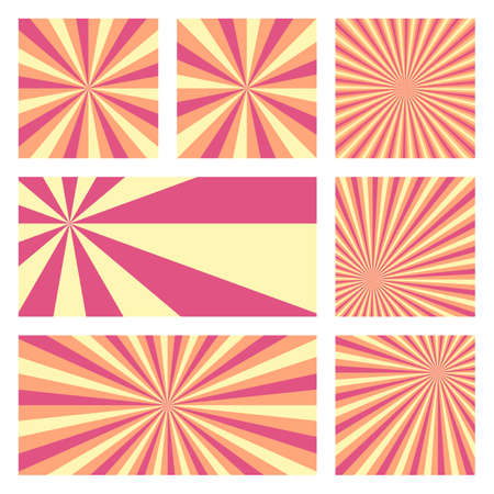 Amazing sunburst background collection. Abstract covers with radial rays. Vibrant vector illustration.
