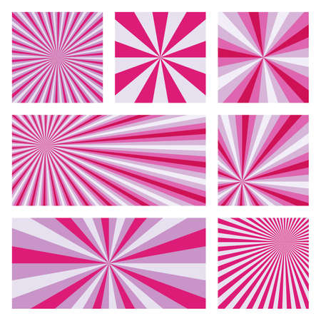 Artistic sunburst background collection. Abstract covers with radial rays. Creative vector illustration.