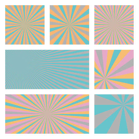 Amazing sunburst background collection. Abstract covers with radial rays. Superb vector illustration. Çizim
