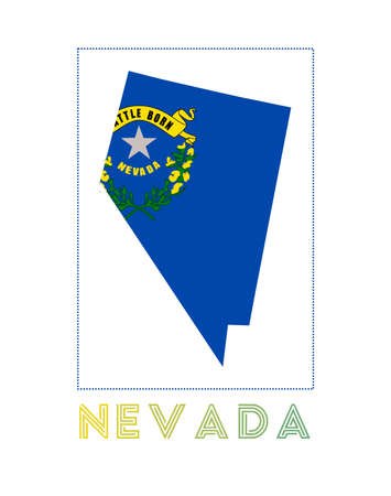 Map of Nevada with us state name and flag. Authentic vector illustration.