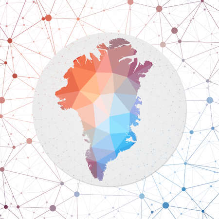 Abstract vector map of Greenland. Technology in the country geometric style poster. Polygonal Greenland map on 3d triangular mesh