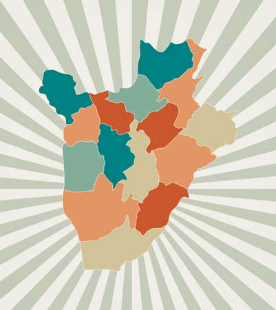 Burundi map. Poster with map of the country in retro color palette. Shape of Burundi with sunburst rays background. Vector illustration.