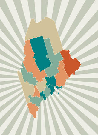 Maine map. Poster with map of the us state in retro color palette. Shape of Maine with sunburst rays background. Vector illustration. Ilustração