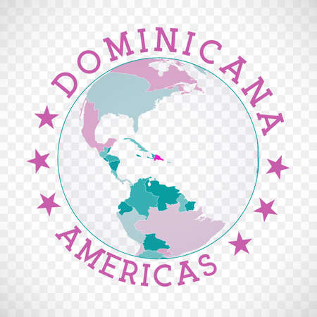 Badge of country with map of Dominicana in world context. Country sticker stamp with globe map and round text. Radiant vector illustration.