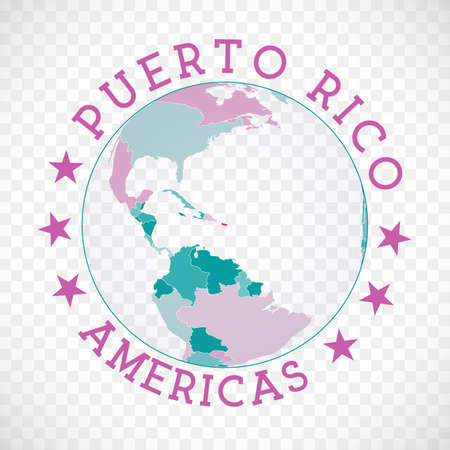 Badge of country with map of Puerto Rico in world context. Country sticker stamp with globe map and round text. Charming vector illustration.