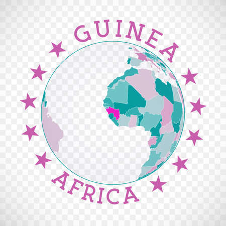 Badge of country with map of Guinea in world context. Country sticker stamp with globe map and round text. Charming vector illustration.