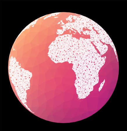 World network map. Orthographic projection. Wired globe in Orthographic projection on geometric low poly background. Creative vector illustration.