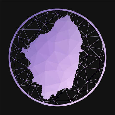 Naxos icon. Vector polygonal map of the island. Naxos icon in geometric style. The island map with purple low poly gradient on dark background.