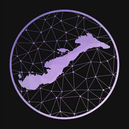 Amorgos icon. Vector polygonal map of the island. Amorgos icon in geometric style. The island map with purple low poly gradient on dark background.
