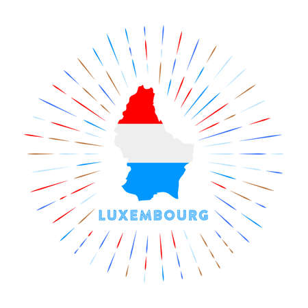 Luxembourg sunburst badge. The country sign with map of Luxembourg with Luxembourger flag.