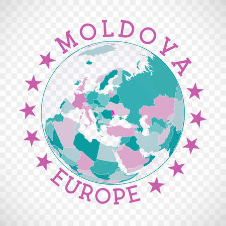 Badge of country with map of Moldova in world context. Country sticker stamp with globe map and round text. Astonishing vector illustration. Vektorové ilustrace