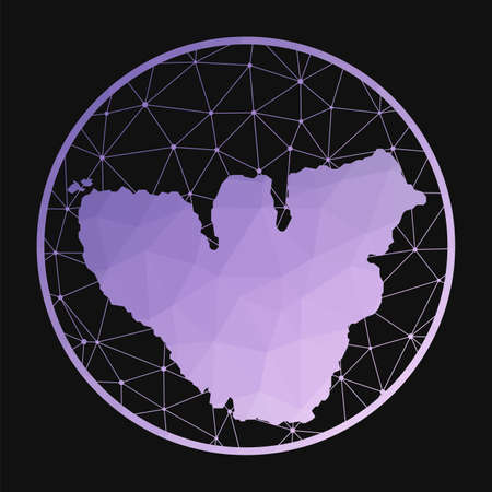 Moorea icon. Vector polygonal map of the island. Moorea icon in geometric style. The island map with purple low poly gradient on dark background.