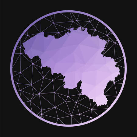 Belgium icon. Vector polygonal map of the country. Belgium icon in geometric style. The country map with purple low poly gradient on dark background.