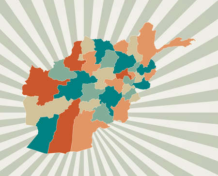 Afghanistan map. Poster with map of the country in retro color palette. Shape of Afghanistan with sunburst rays background. Vector illustration.
