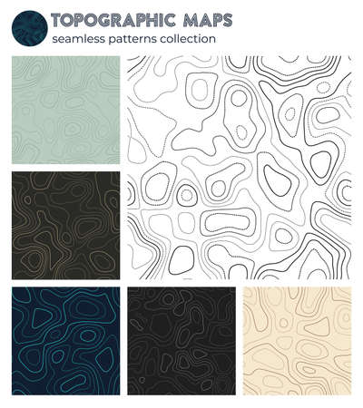 Topographic maps. Awesome isoline patterns, seamless design. Astonishing tileable background. Vector illustration.