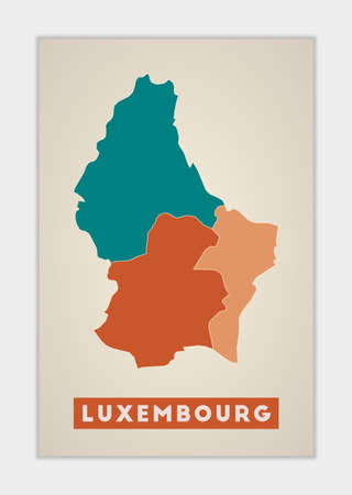 Luxembourg poster. Map of the country with colorful regions. Shape of Luxembourg with country name. Creative vector illustration. Banco de Imagens - 148611903