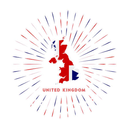 United Kingdom sunburst badge. The country sign with map of United Kingdom with British flag. Colorful rays around the logo. Vector illustration.