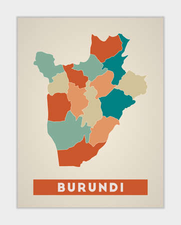 Burundi poster. Map of the country with colorful regions. Shape of Burundi with country name. Radiant vector illustration. Illustration