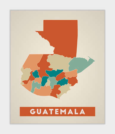 Guatemala poster. Map of the country with colorful regions. Shape of Guatemala with country name. Attractive vector illustration.
