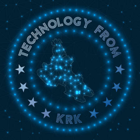 Technology From Krk. Futuristic geometric badge of the island. Technological concept. Round Krk logo. Vector illustration. Logó