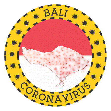 Coronavirus in Bali sign. Round badge with shape of Bali. Yellow island lock down emblem with title and virus signs. Vector illustration.