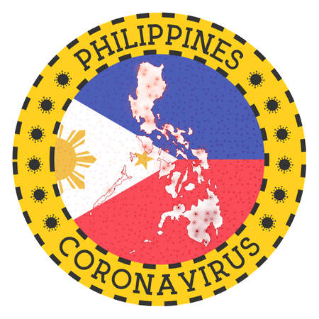 Coronavirus in Philippines sign. Round badge with shape of Philippines. Yellow country lock down emblem with title and virus signs. Vector illustration.