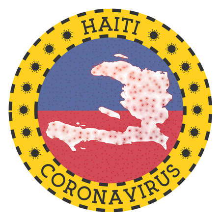 Coronavirus in Haiti sign. Round badge with shape of Haiti. Yellow country lock down emblem with title and virus signs. Vector illustration.