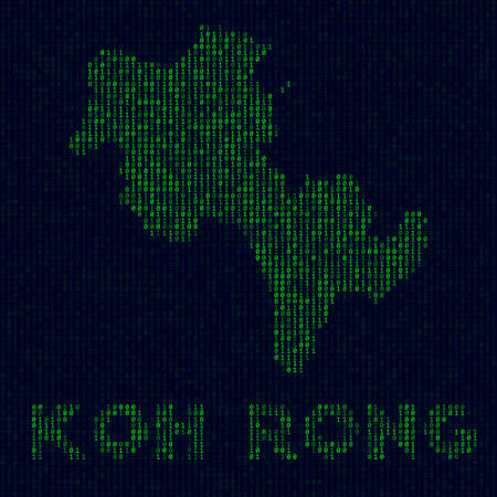 Digital Koh Rong logo. Island symbol in hacker style. Binary code map of Koh Rong with island name. Authentic vector illustration.