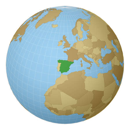 Globe centered to Spain. Country highlighted with green color on world map. Satellite projection view. Vector illustration.