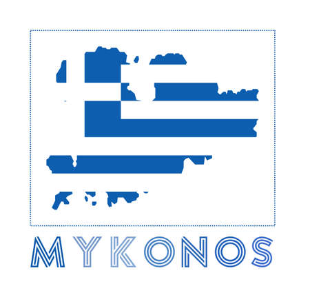 Mykonos Logo. Map of Mykonos with island name and flag. Charming vector illustration.