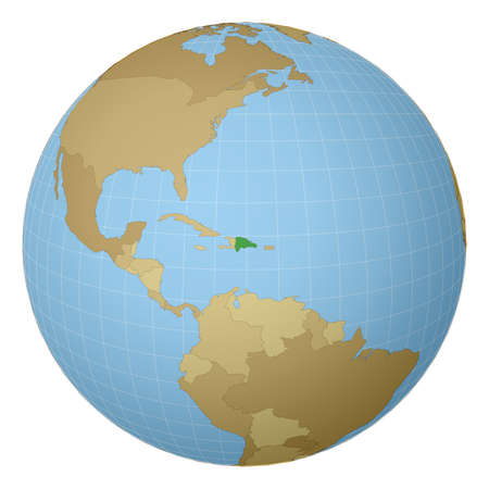 Globe centered to Dominicana. Country highlighted with green color on world map. Satellite projection view. Vector illustration.