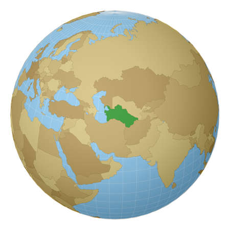 Globe centered to Turkmenistan. Country highlighted with green color on world map. Satellite projection view. Vector illustration. Vettoriali