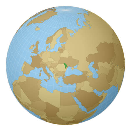 Globe centered to Moldova. Country highlighted with green color on world map. Satellite projection view. Vector illustration.