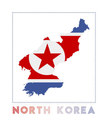 North Korea Logo. Map of North Korea with country name and flag. Modern vector illustration. 矢量图像