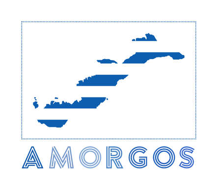 Amorgos Logo. Map of Amorgos with island name and flag. Trendy vector illustration.