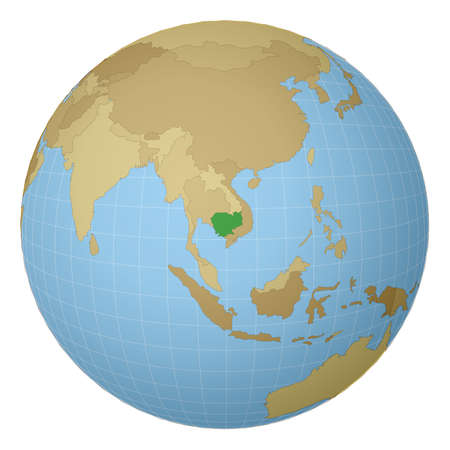 Globe centered to Cambodia. Country highlighted with green color on world map. Satellite projection view. Vector illustration.