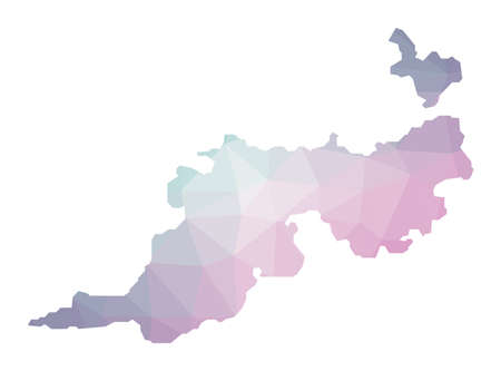 Polygonal map of Guana Island. Geometric illustration of the island in emerald amethyst colors. Guana Island map in low poly style. Technology, internet, network concept. Vector illustration.