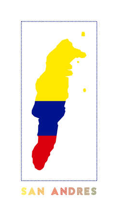San Andres Logo. Map of San Andres with island name and flag. Vibrant vector illustration.